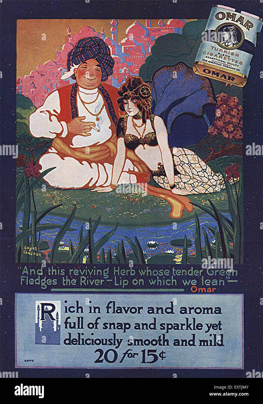 1910s USA Omar Magazine Advert - Stock Image