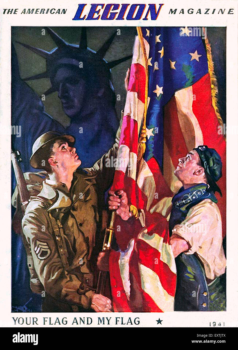 1940s USA The American Legion Magazine Cover - Stock Image