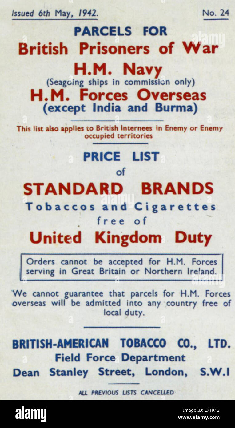 1940s UK British American Tobacco Company Poster Stock Photo ...