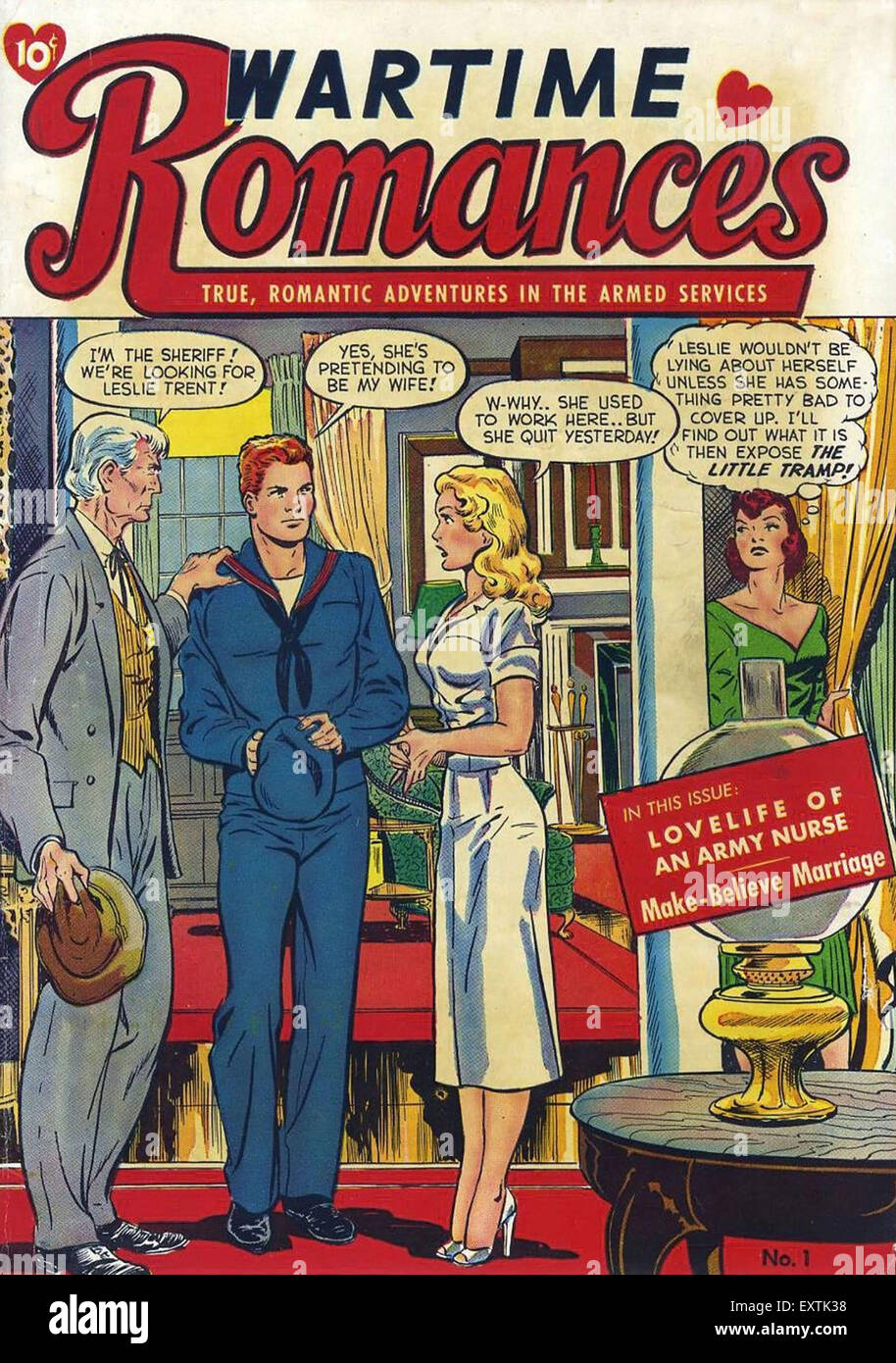 USA Wartime Romance Comic/ Annual Cover - Stock Image