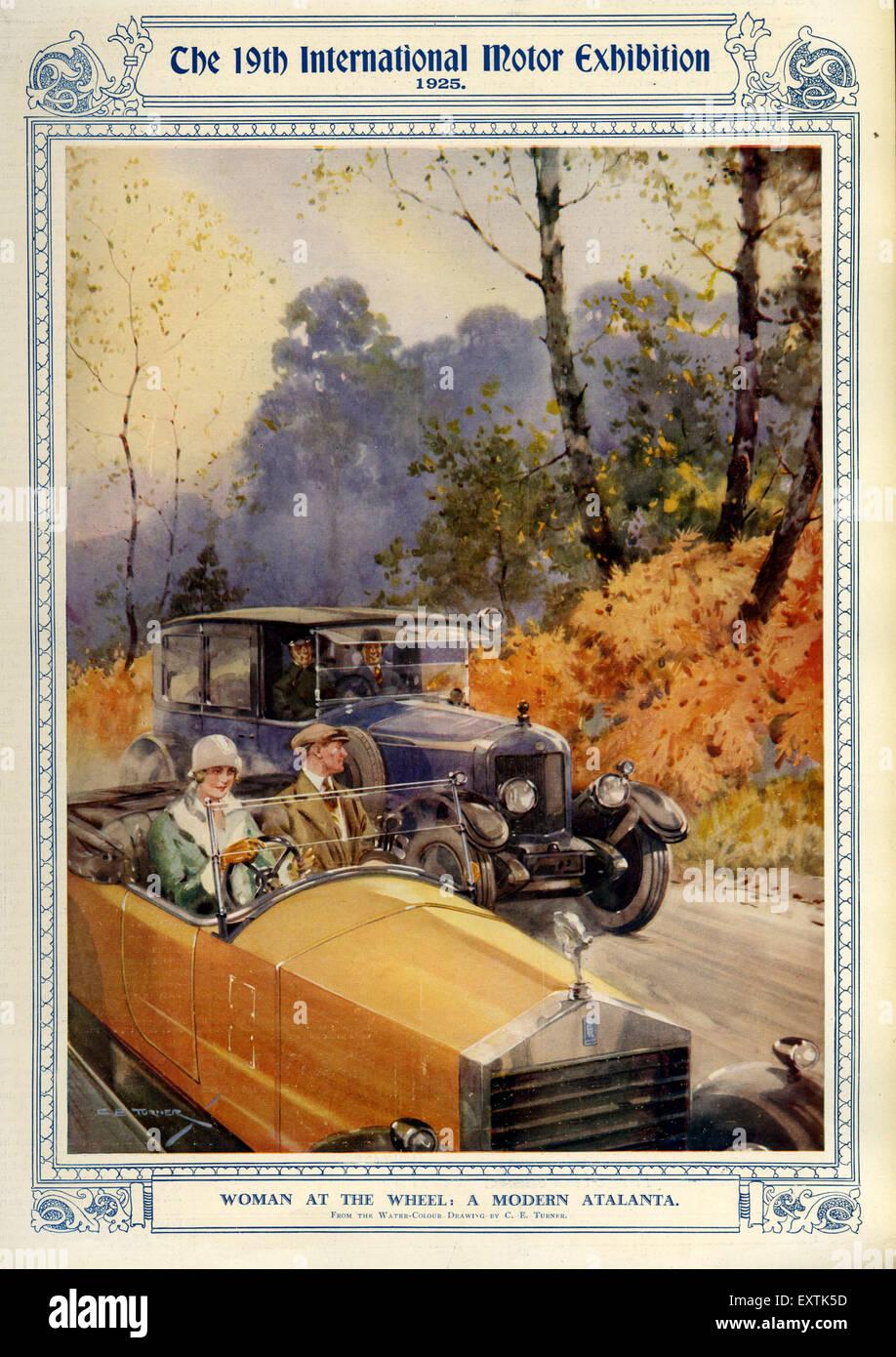 1920s UK Motor Exhibition Magazine Plate - Stock Image