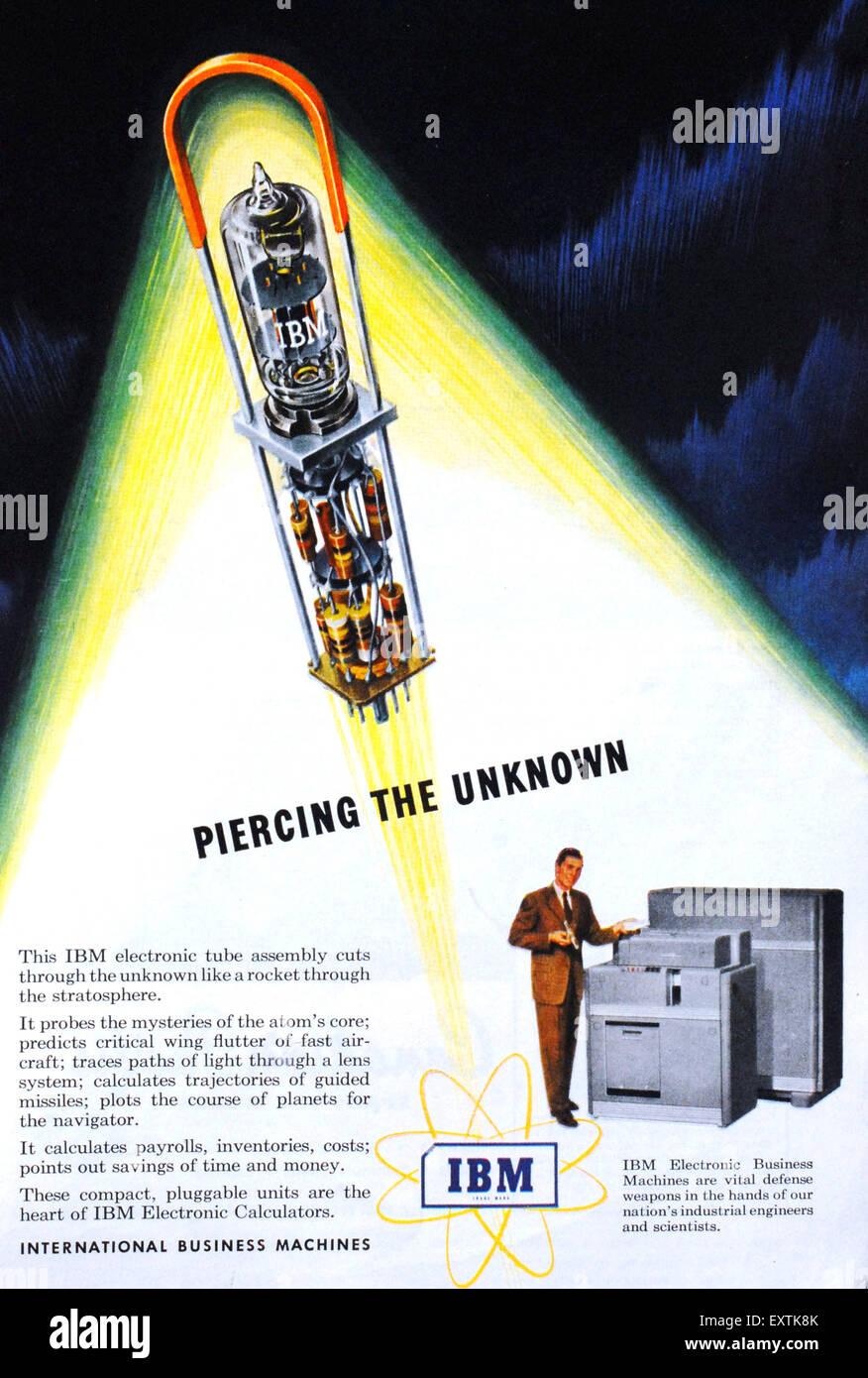 1950s USA IBM Magazine Advert - Stock Image