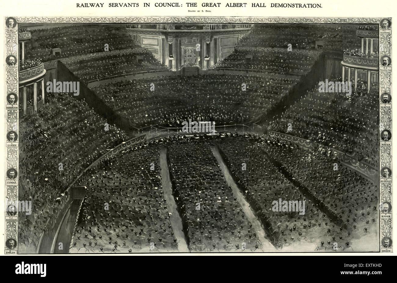 1900s UK Royal Albert Hall Magazine Plate - Stock Image