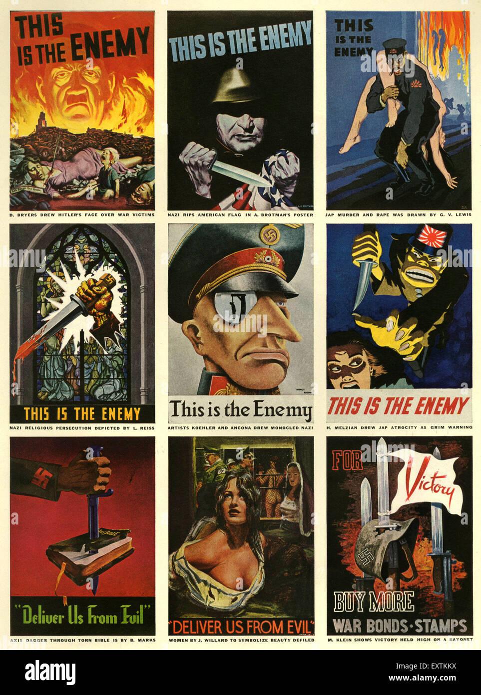 1940s UK World War Two Magazine Plate - Stock Image