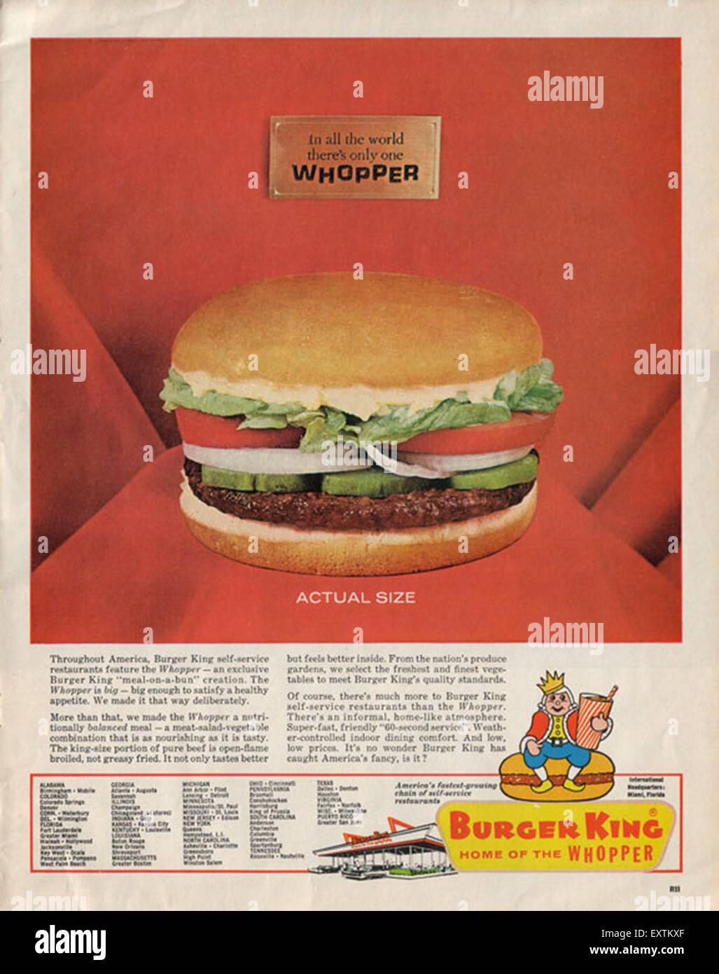 1960s USA Burger King Magazine Advert - Stock Image