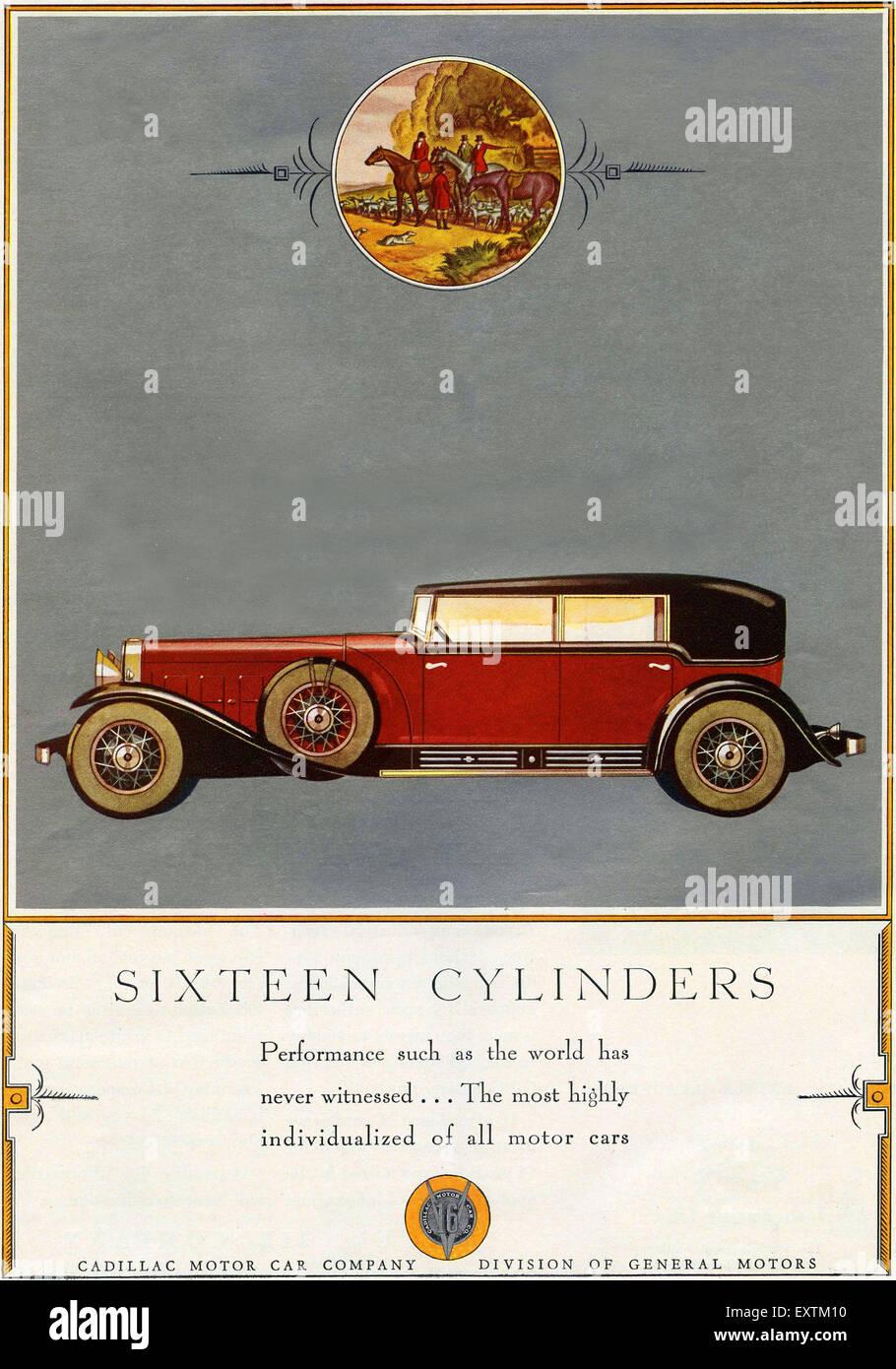 1930s USA Cadillacs Magazine Advert - Stock Image