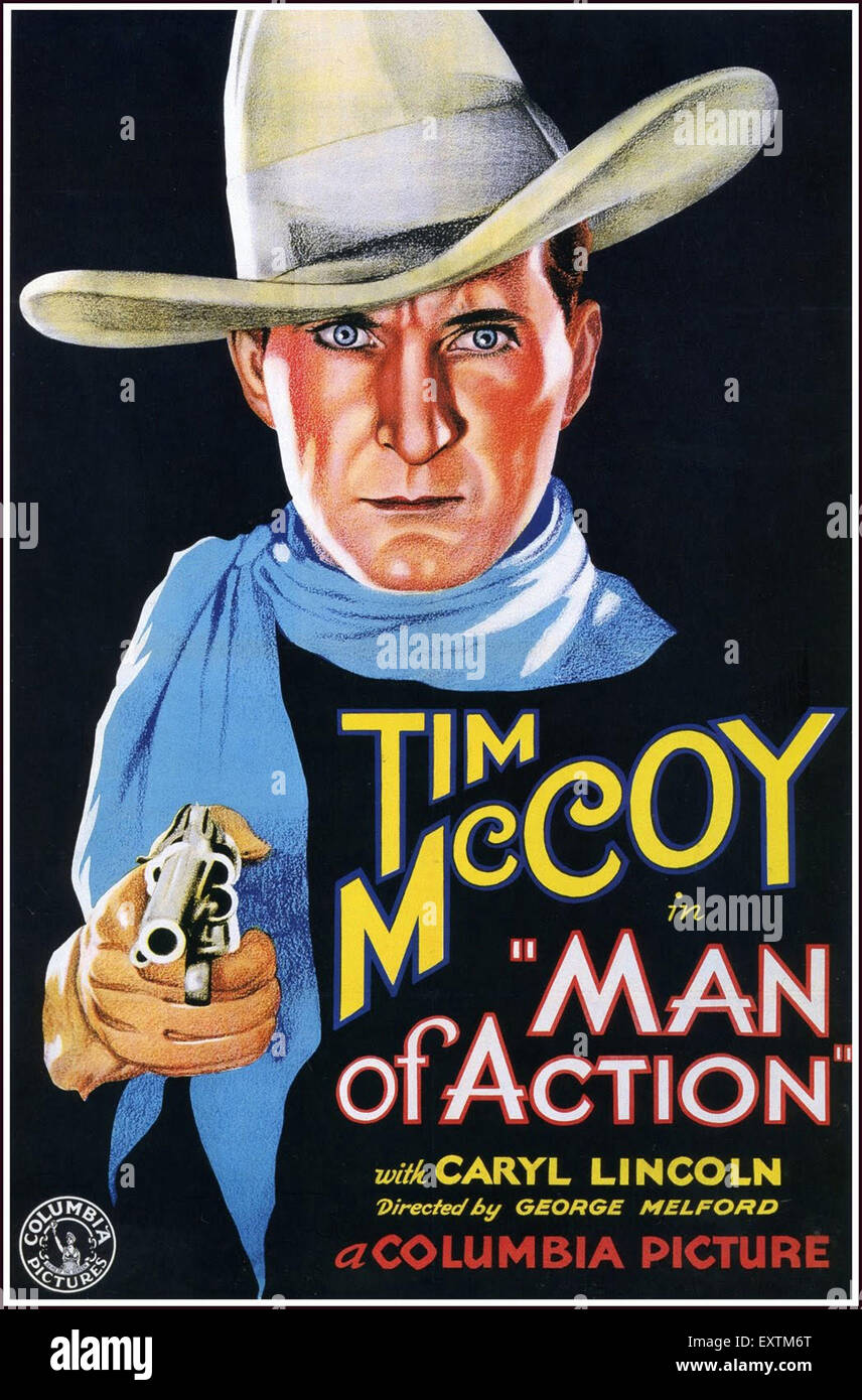 1930s USA Man  of Action Film Poster - Stock Image