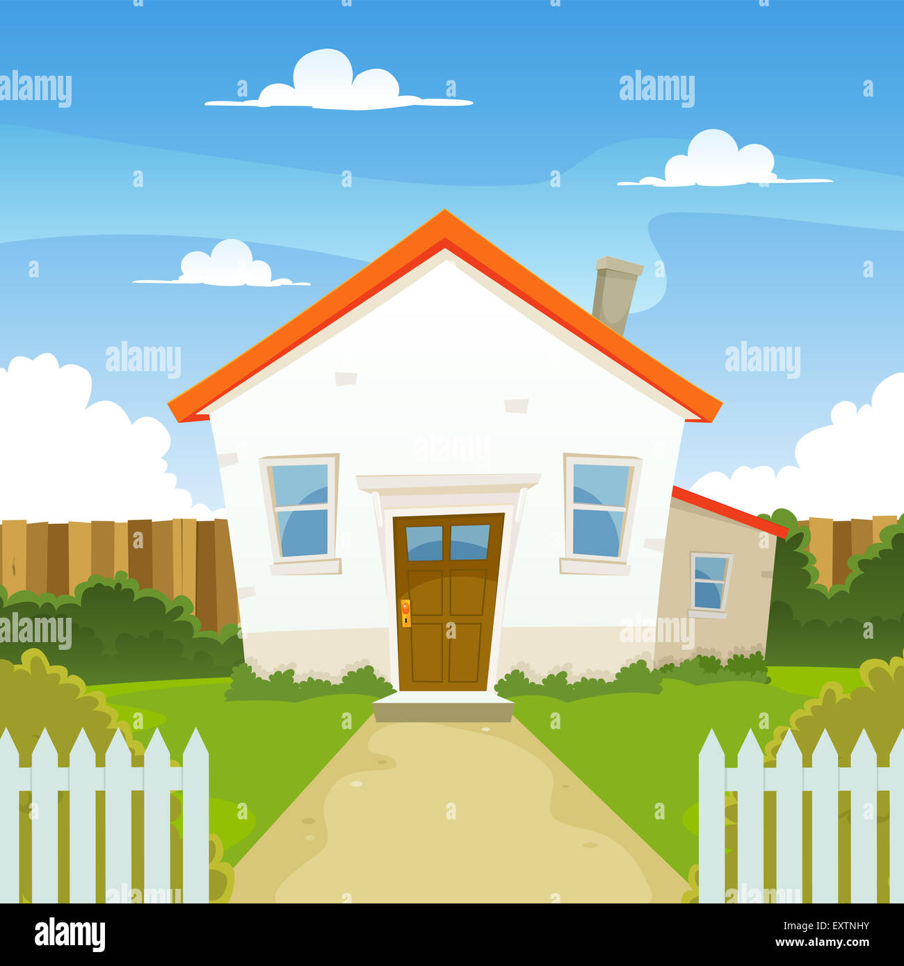 House With Garage And Backyard Stock Photos Amp House With