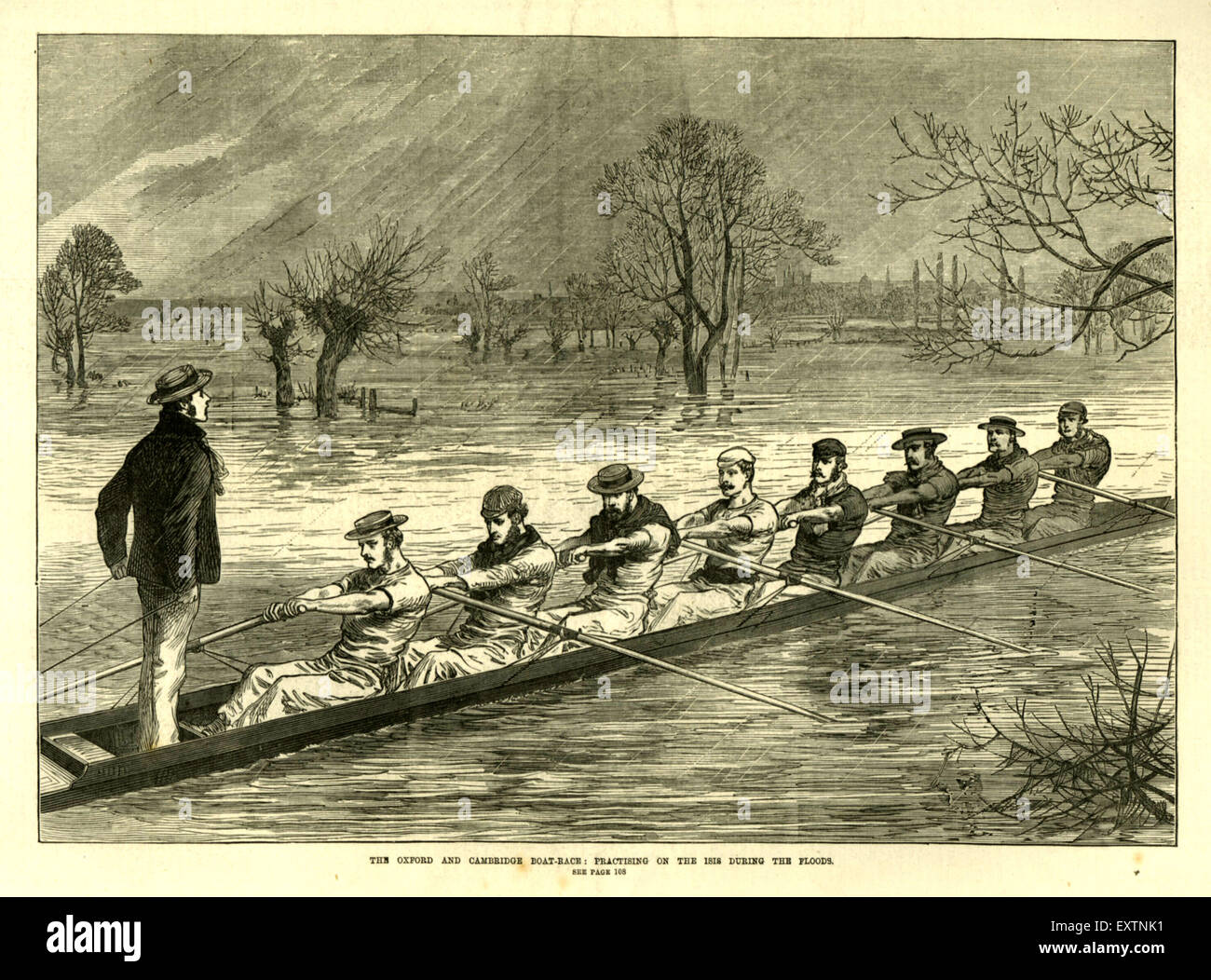 1870s UK Practising for Boat Races during Floods Magazine Plate - Stock Image