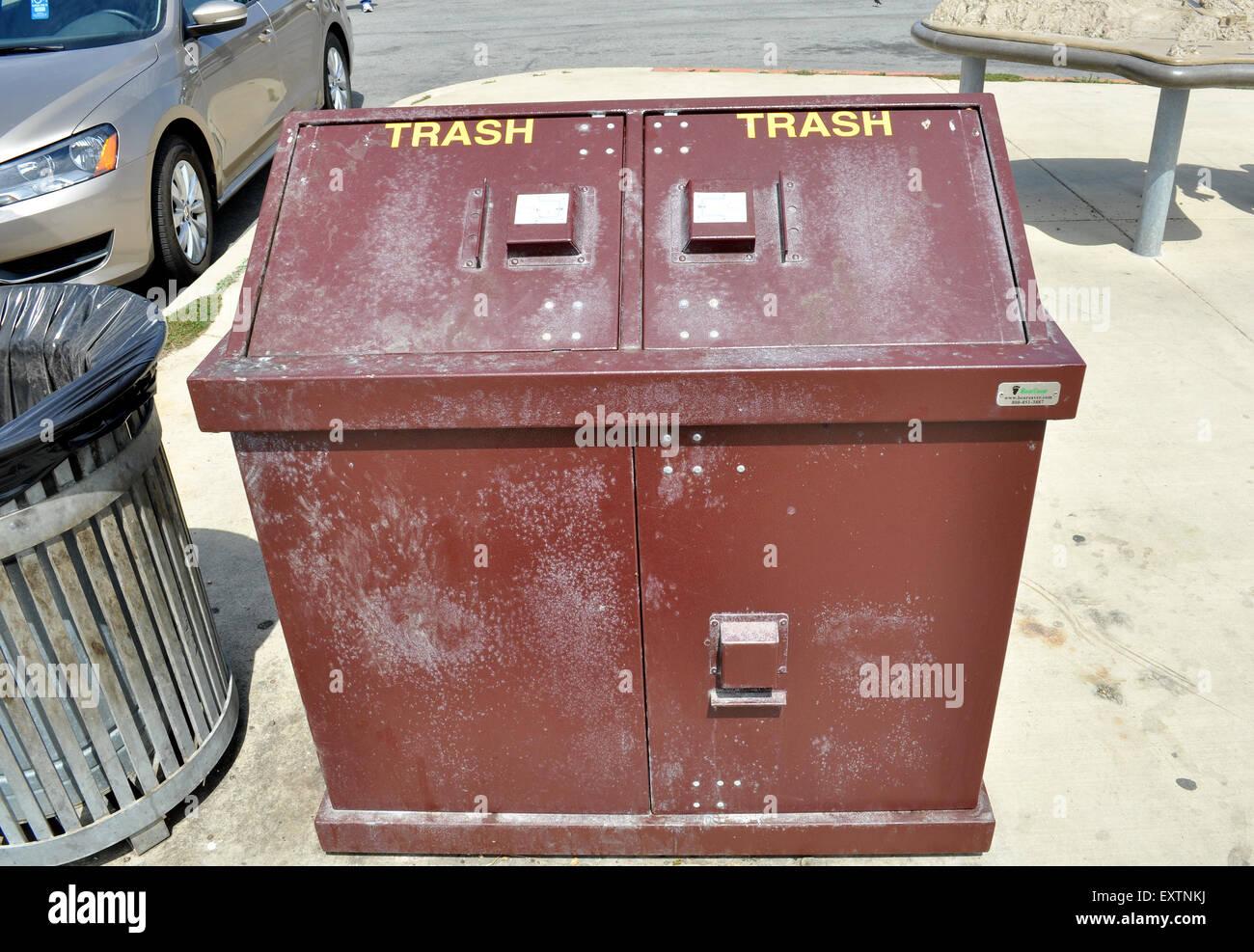 Bearsaver trash can, Lands End, San Francisco, California, - Stock Image