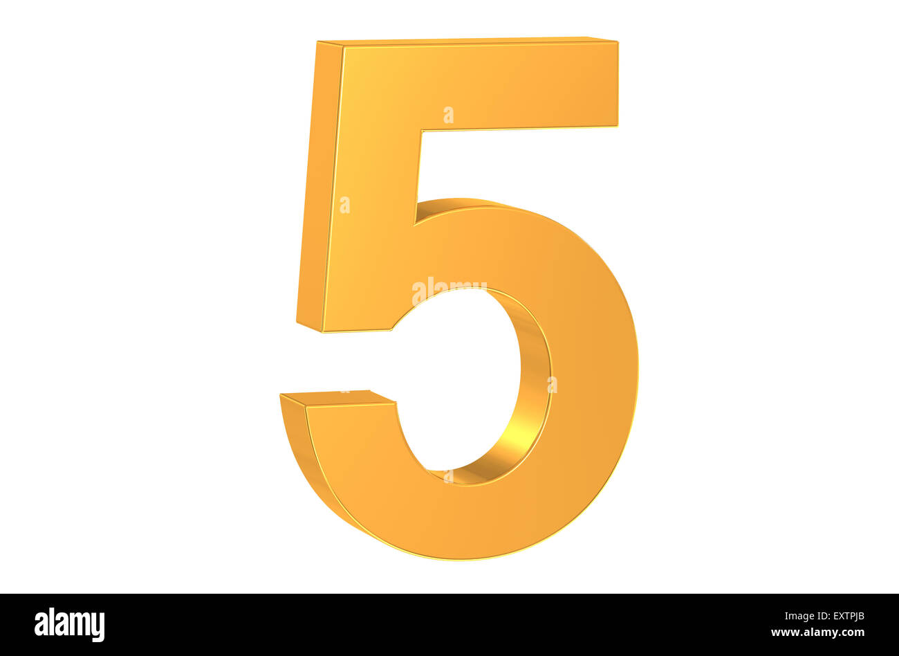 3D golden number 5 isolated on white background - Stock Image