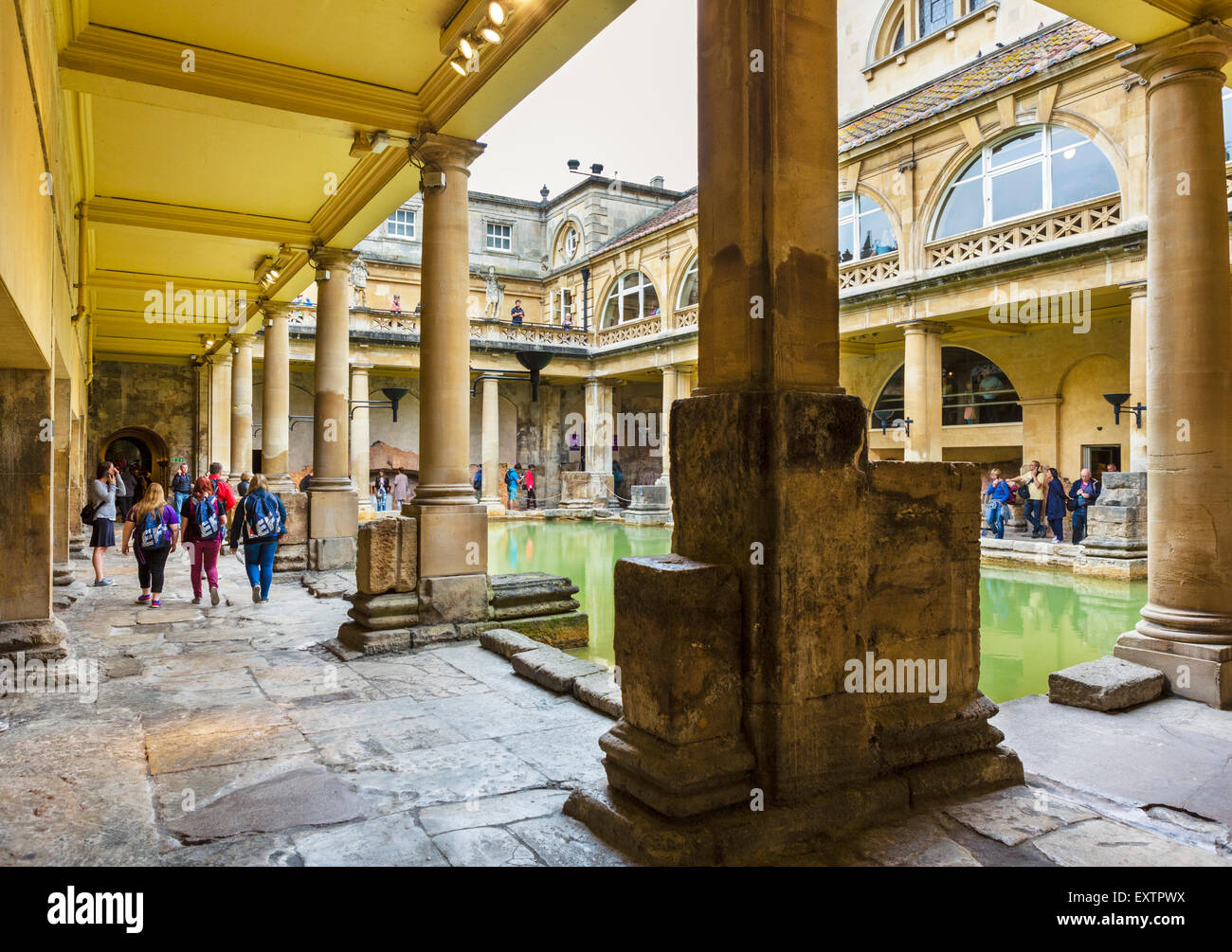 The Great Bath at the Roman Baths in Bath, Somerset, England, UK - Stock Image