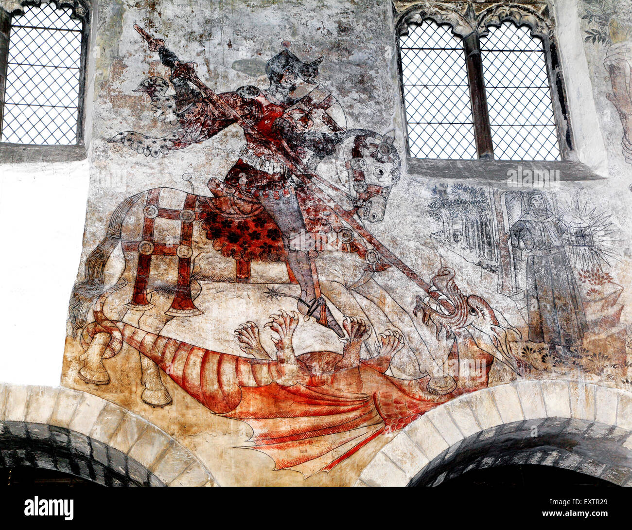 St. George and the Dragon, medieval wall painting, Pickering, Yorkshire England UK saints saint paintings Stock Photo