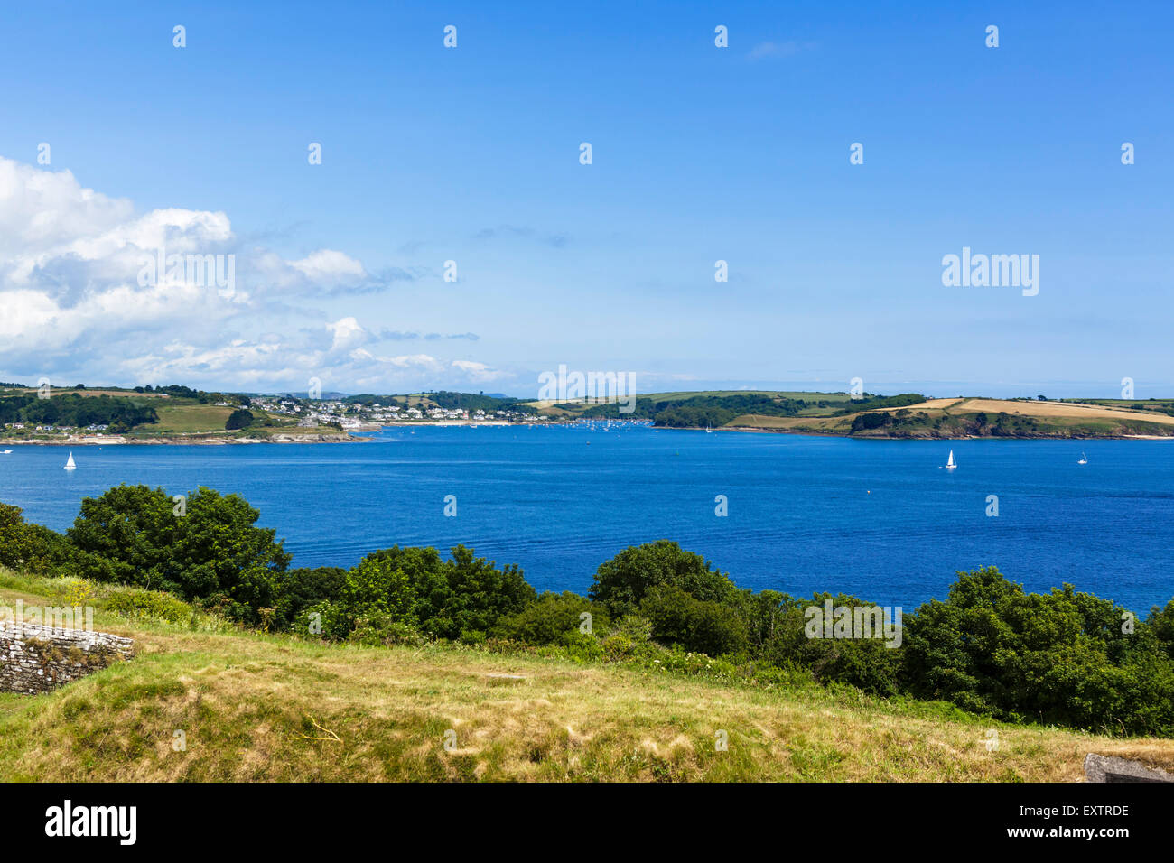 View over Carrick Roads towards St Mawes from Pendennis Castle, Falmouth, Cornwall, England, UK - Stock Image