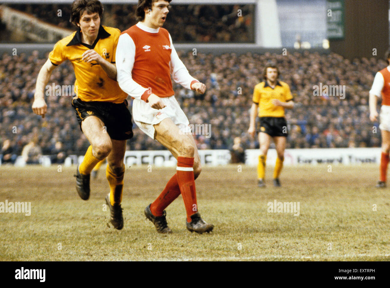 John Richards and David O'Leary footballers footballer FA Cup semi final Arsenal v Wolverhampton Wanderers 31st - Stock Image