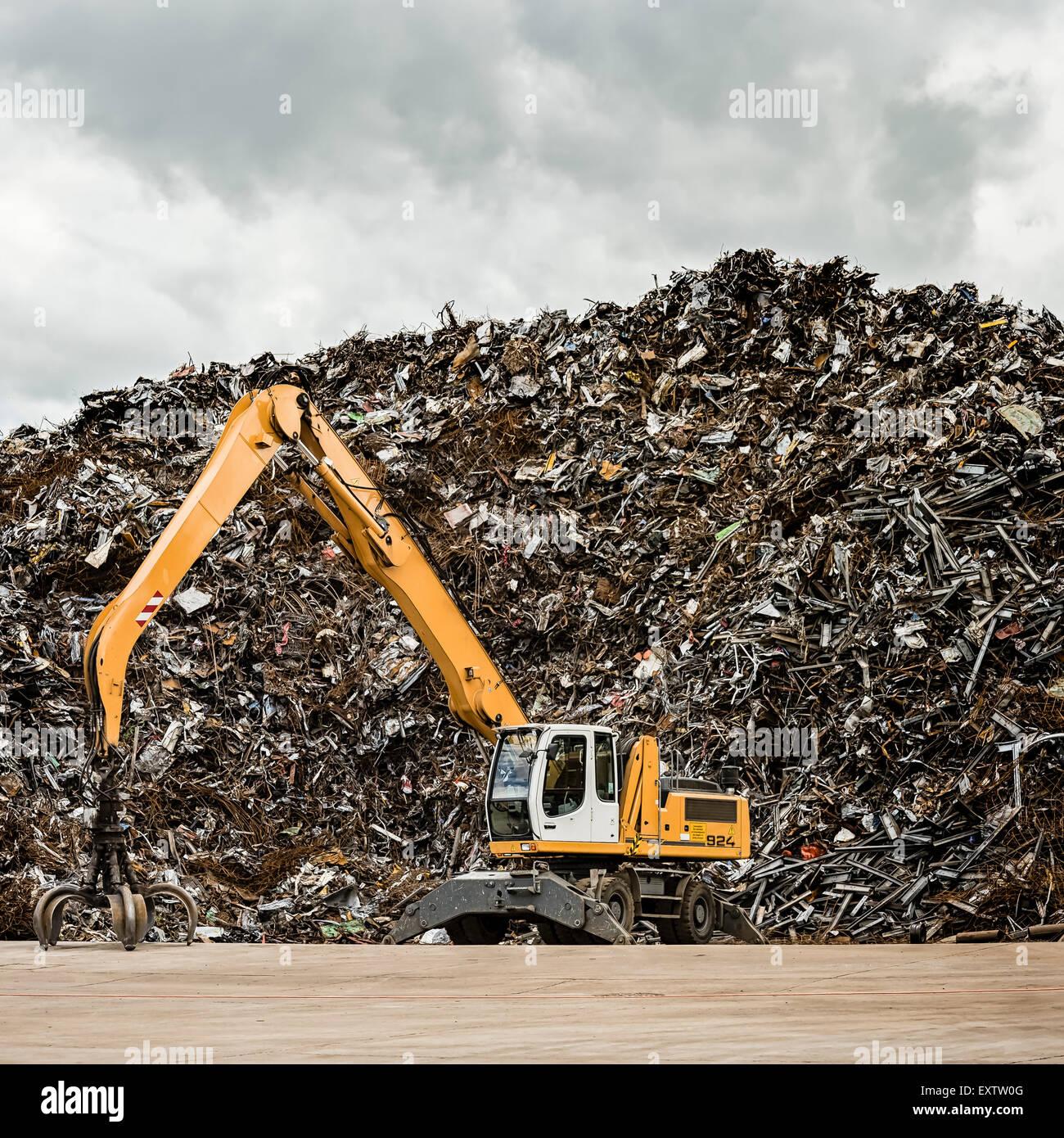 Recycling yard in Hamburg, Germany, scrap metal - Stock Image