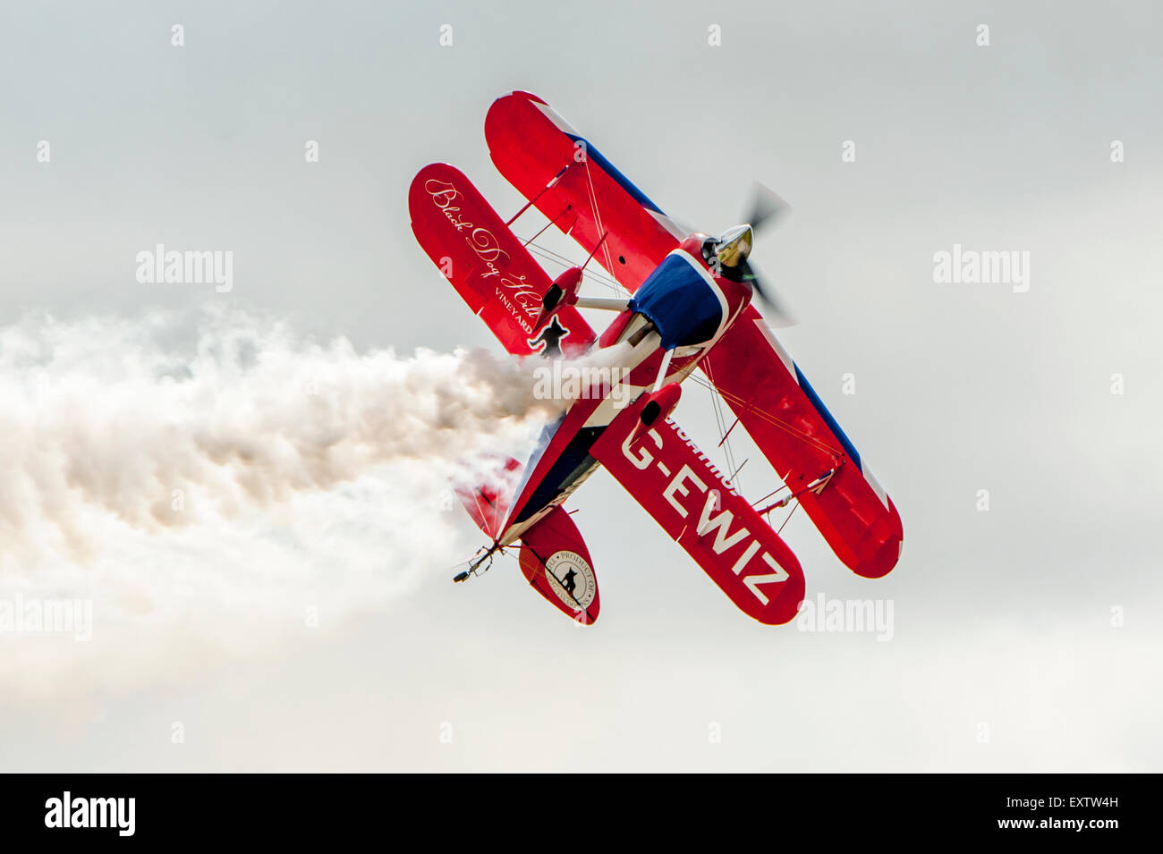 Pitts S-2S Special, G-EWIZ Aerobatic plane Black Dog Vinyard Stock Photo