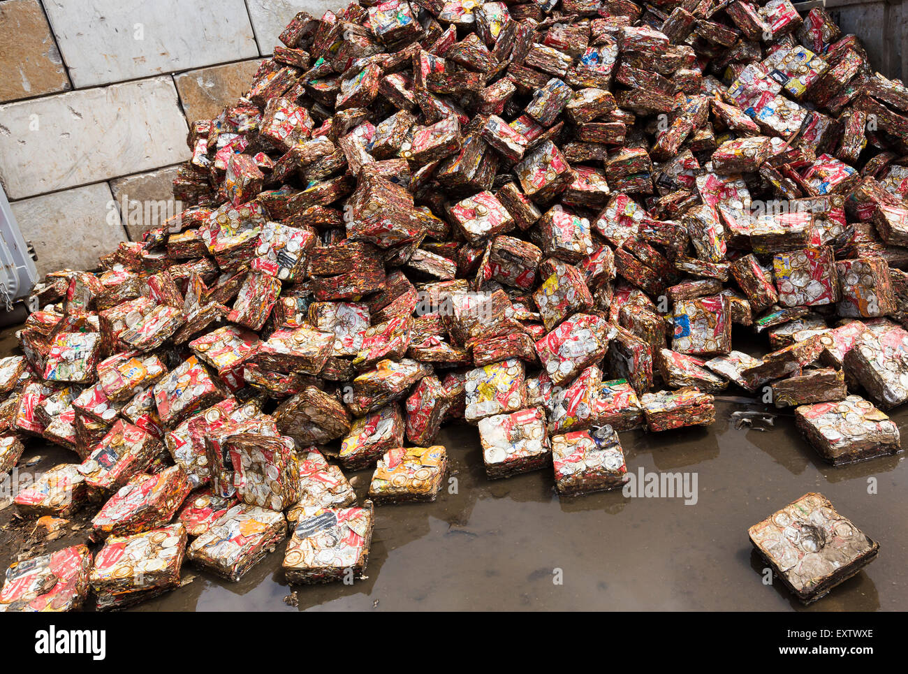 Recycling yard in Hamburg, pressed beverage cans - Stock Image