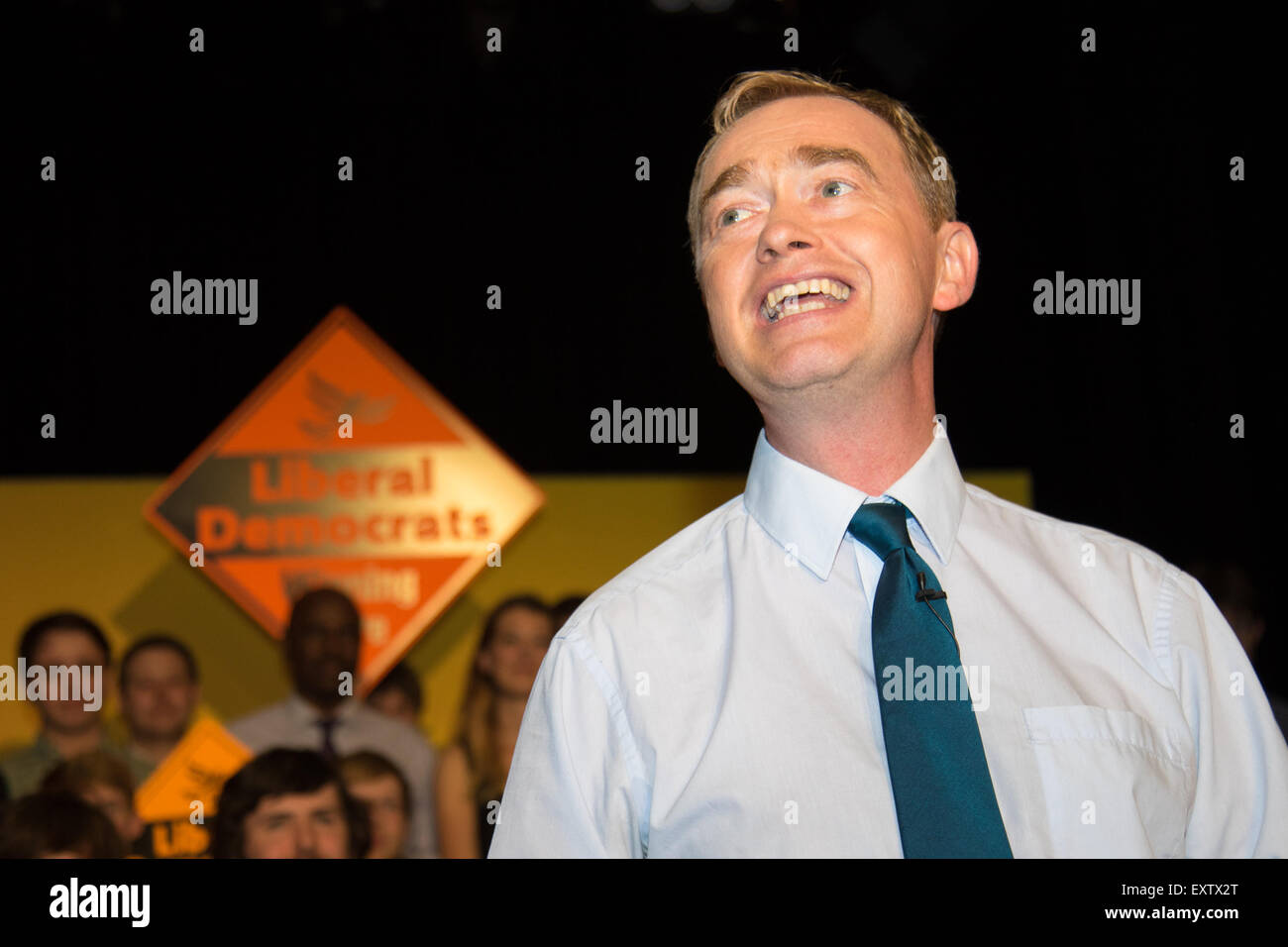 Islington Assembly Hall, London, July 16th 2015. The Liberal Democrats announce their new leader Tim Farron MP who - Stock Image
