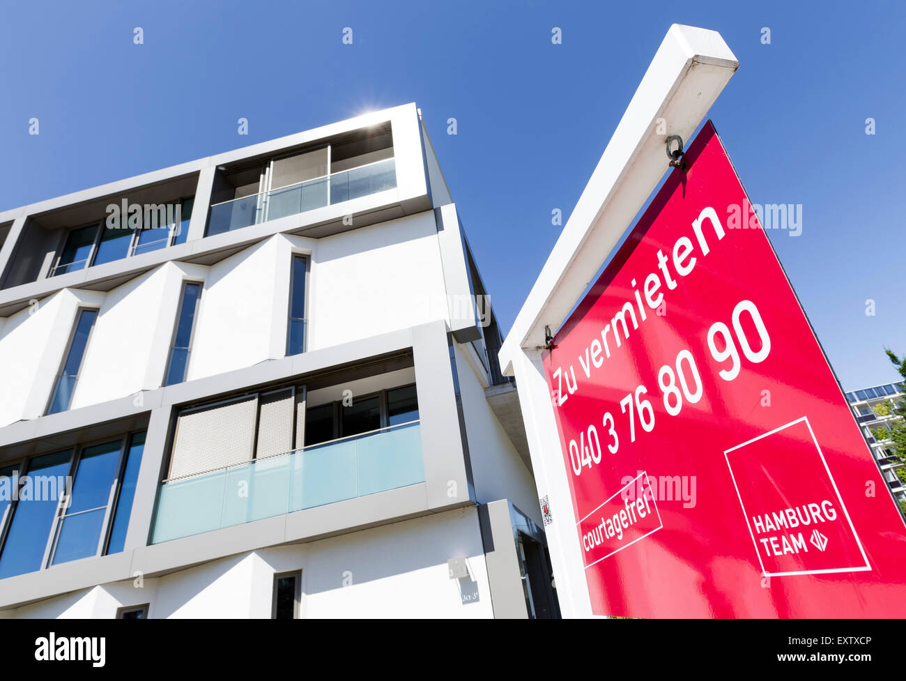 Modern apartments to let in Hamburg, Germany - Stock Image