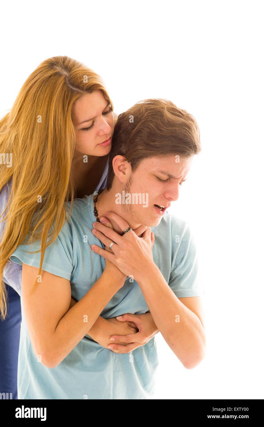 Close Woman Demonstrating Heimlich Maneuver First Stock