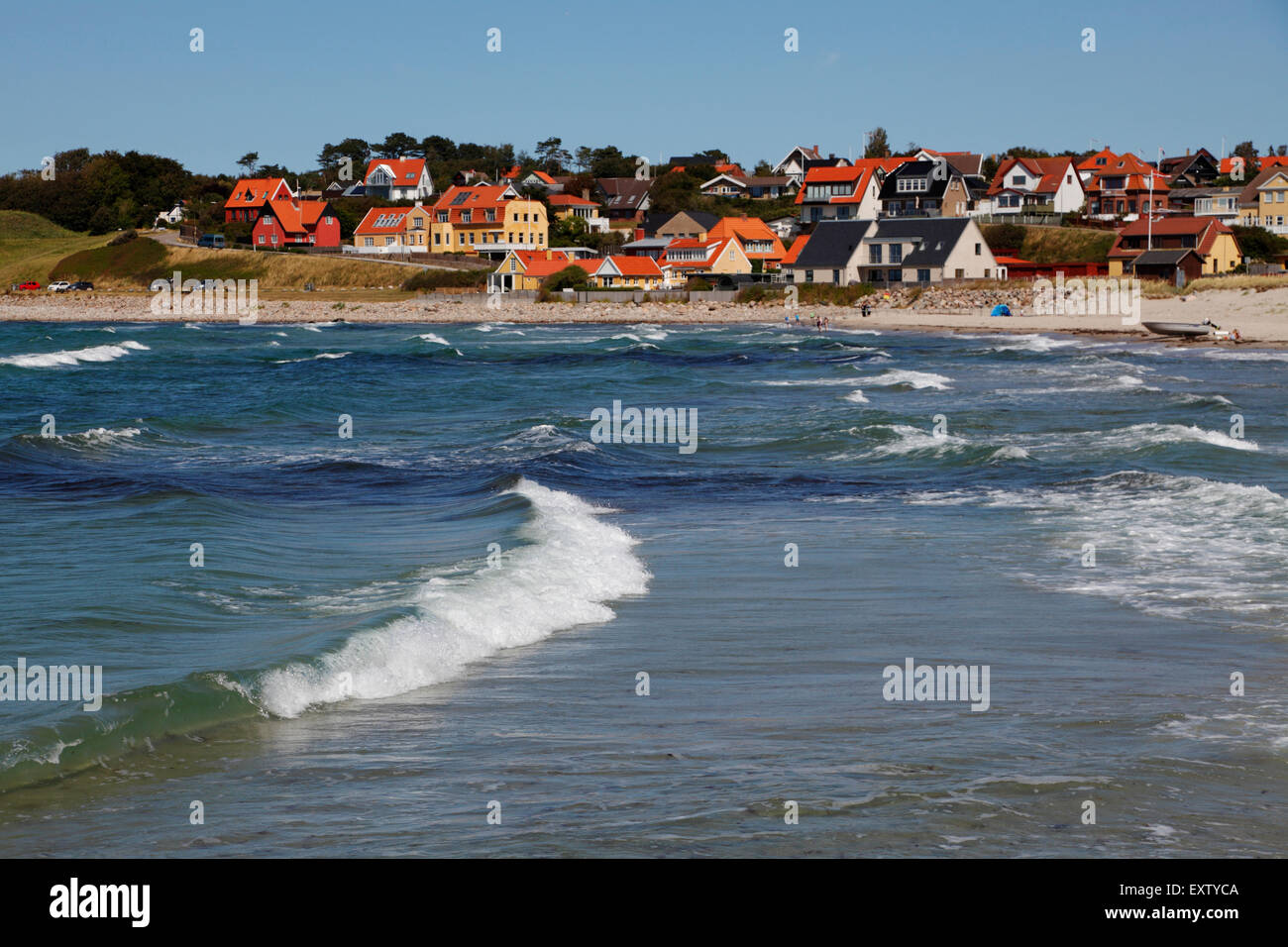 Surf at Hundested Beach on a summer's day - Stock Image