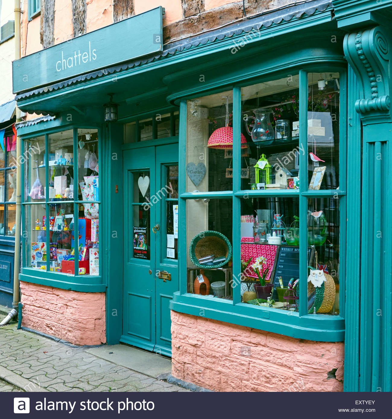Chattels gift shop in market street in hay on wye - Stock Image
