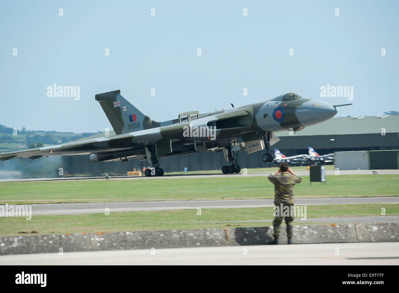 Avro Vulcan XH558 The Spirit Of Great Britain jet powered delta winged strategic nuclear bomber aircraft - Stock Image