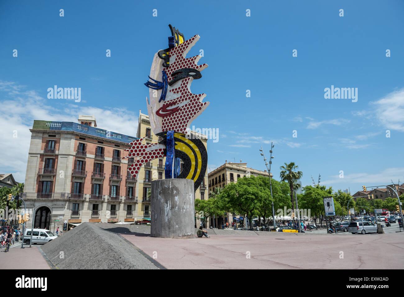3093bfa7aee El Cap de Barcelona (The Head) surrealist sculpture by American artist Roy  Lichtenstein in Barcelona