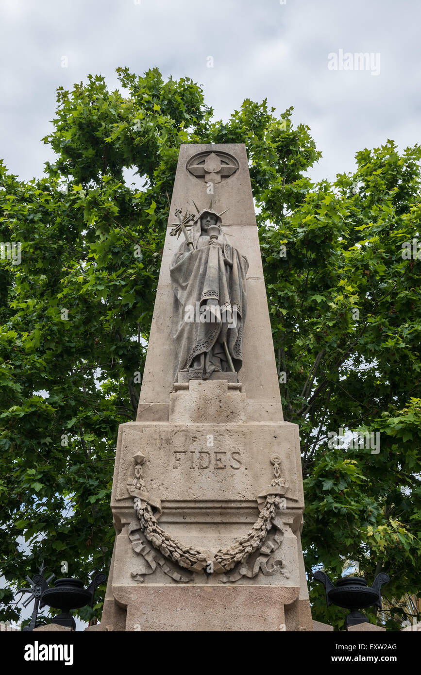 Statue at the entry to Poblenou Cemetery - Cementiri de l'Est (East cemetery) in Barcelona, Spain Stock Photo