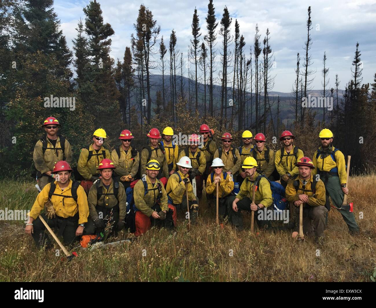 A group of Bureau of Land Management backcountry firefighters recruited from military veterans pose during field - Stock Image