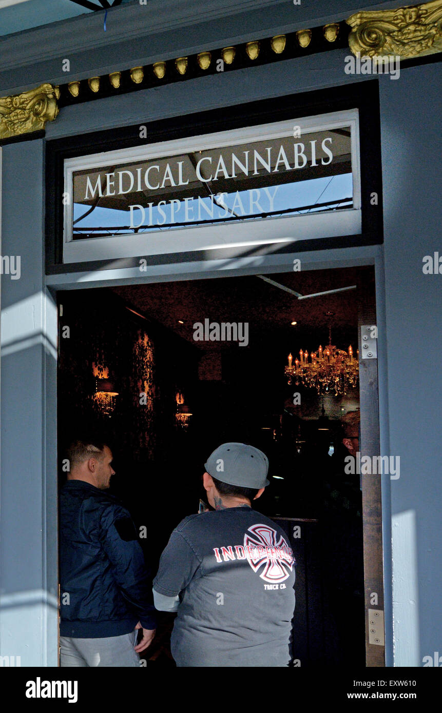 SAN FRANCISCO - MAY 17 2015:Medical cannabis dispensary. California became the first state to enact protections Stock Photo