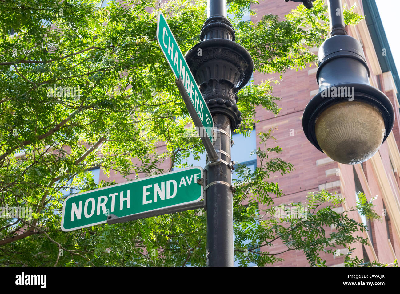 New York City street signs for North End Avenue and Chambers Street in Battery City Park in Lower Manhattan - Stock Image