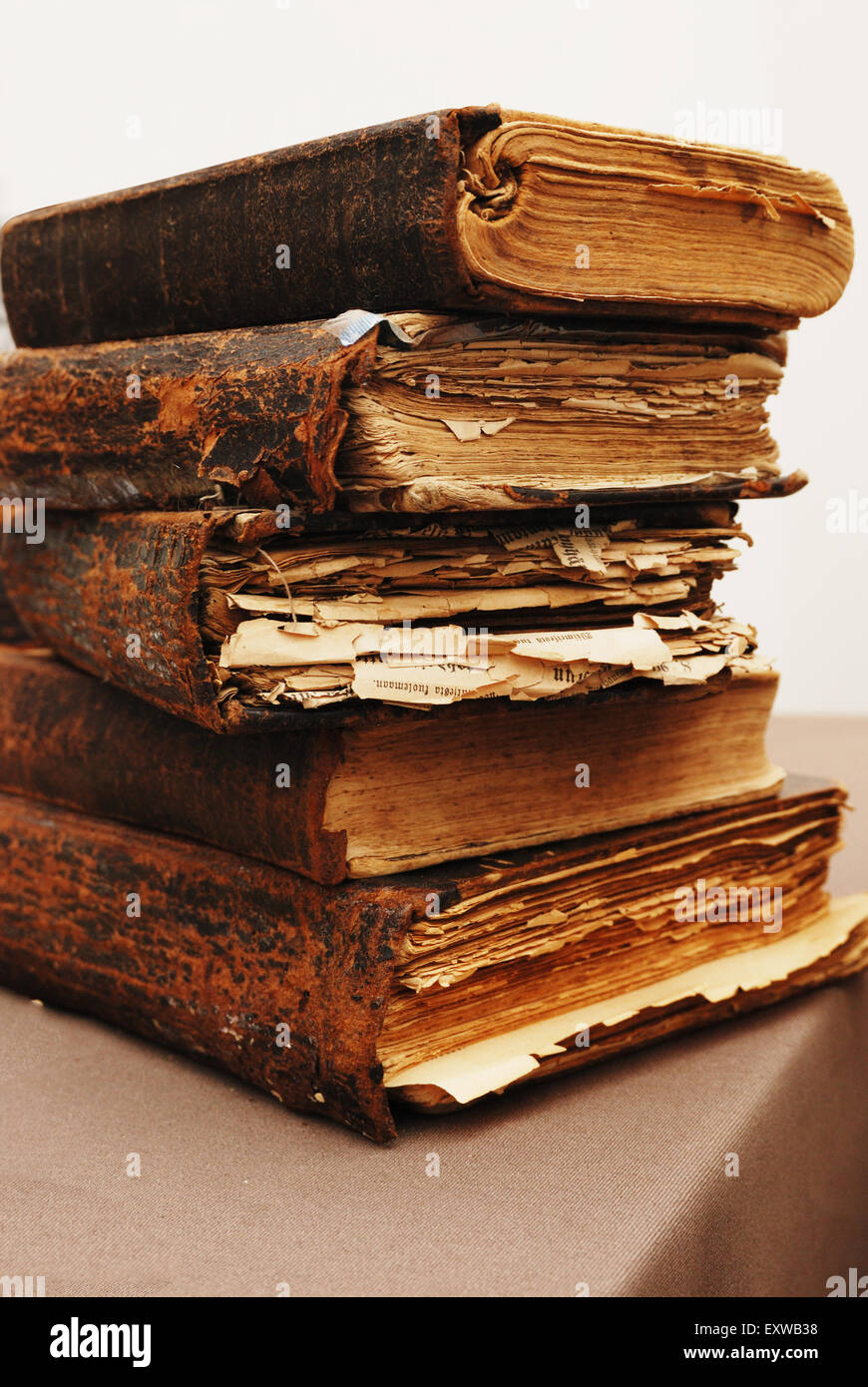stack of old tattered books on the table stock photo 85380044 alamy