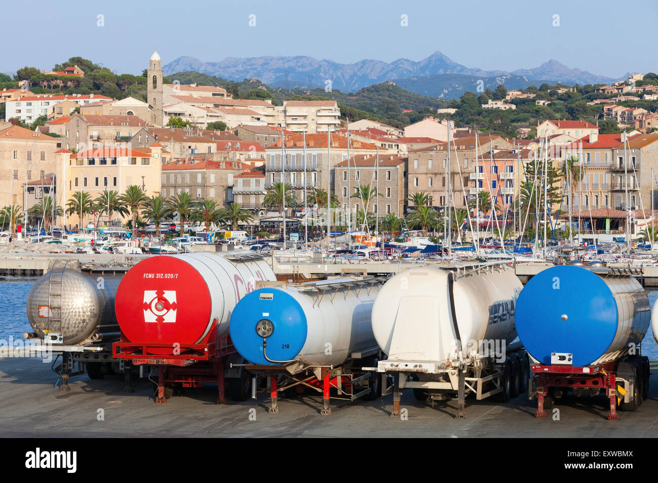 Propriano, France   July 3, 2015: Trailer Tanks Stands In A Row, Propriano  Port, Corsica Island