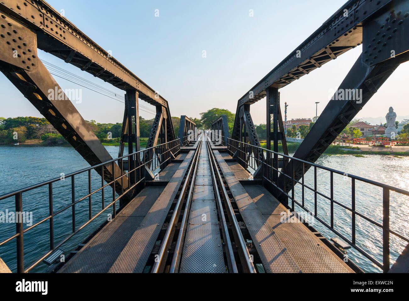 Historical River Kwai Bridge, route of the Thailand-Burma Railway, Death Railway, Kanchanaburi Province, Central - Stock Image