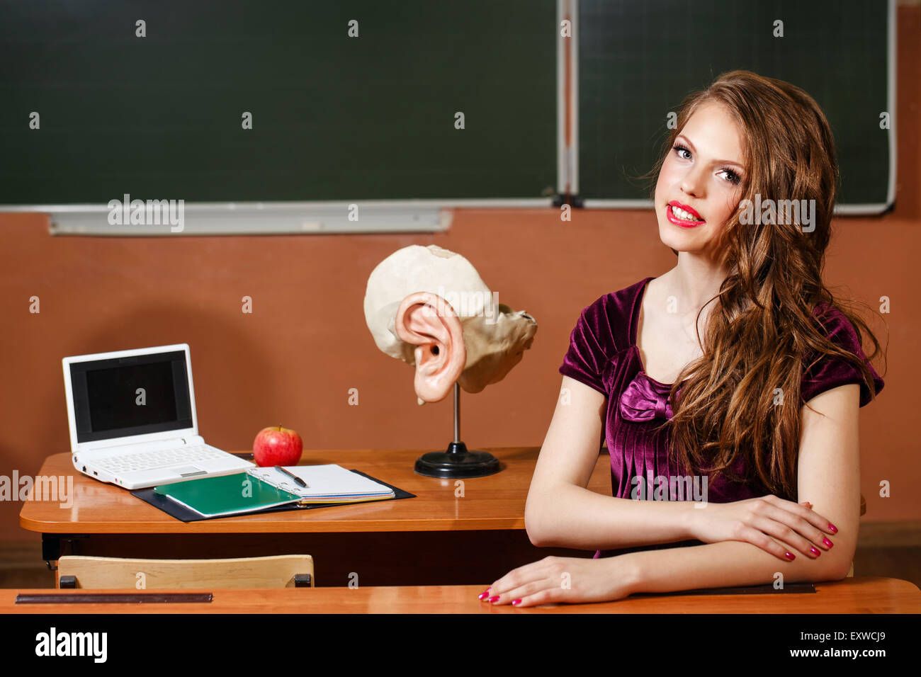 Excellent pupil sitting at a desk. On the table is a layout of the human ear, laptop, notebook and apple. - Stock Image