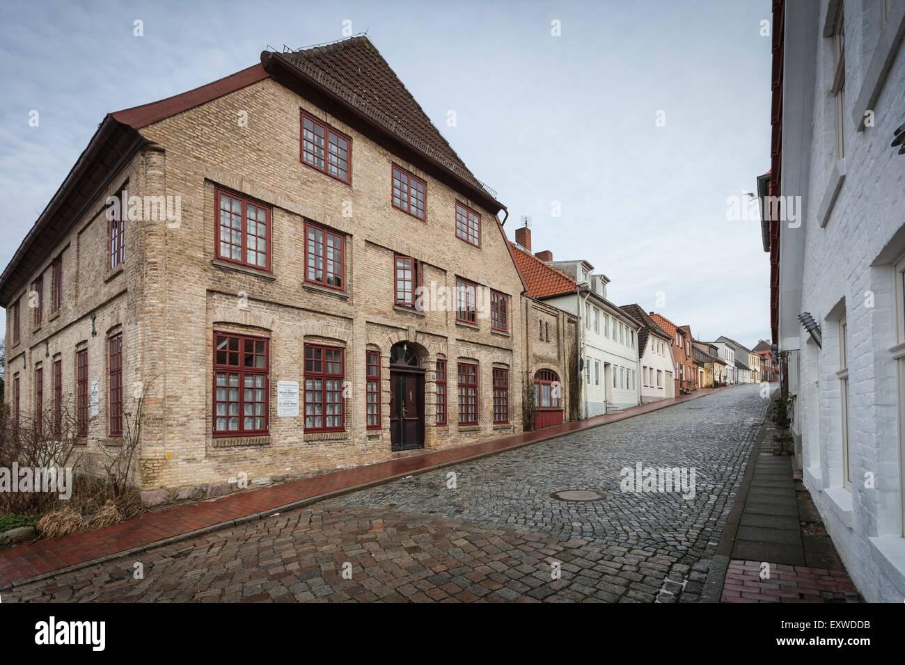Deserted street in Neustadt, Schleswig-Holstein, Germany - Stock Image