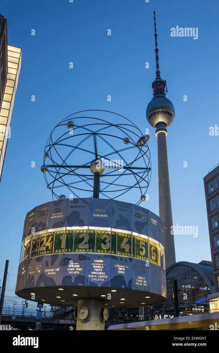 World clock and television tower, Alexanderplatz, Berlin, Germany, Europe Stock Photo