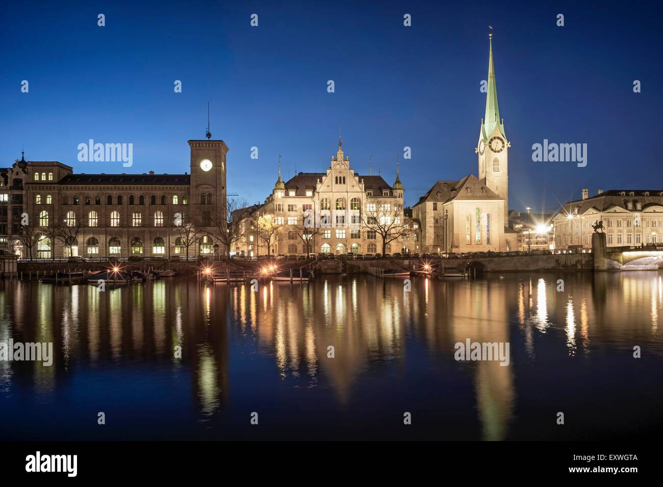Fraumuenster and St. Peter at Limmat, Zurich, Switzerland, Europe - Stock Image