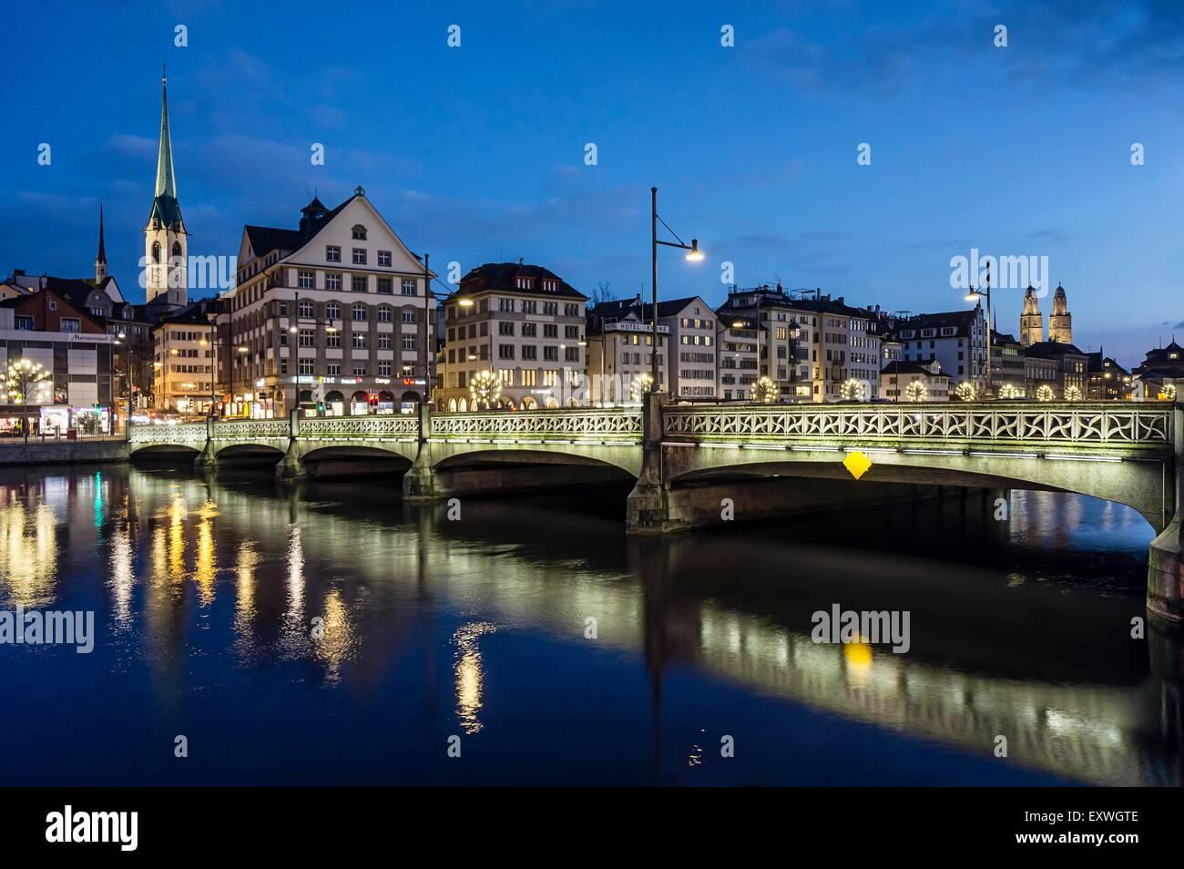 Rudolf Brun bridge and Limmat, Zurich, Switzerland, Europe - Stock Image