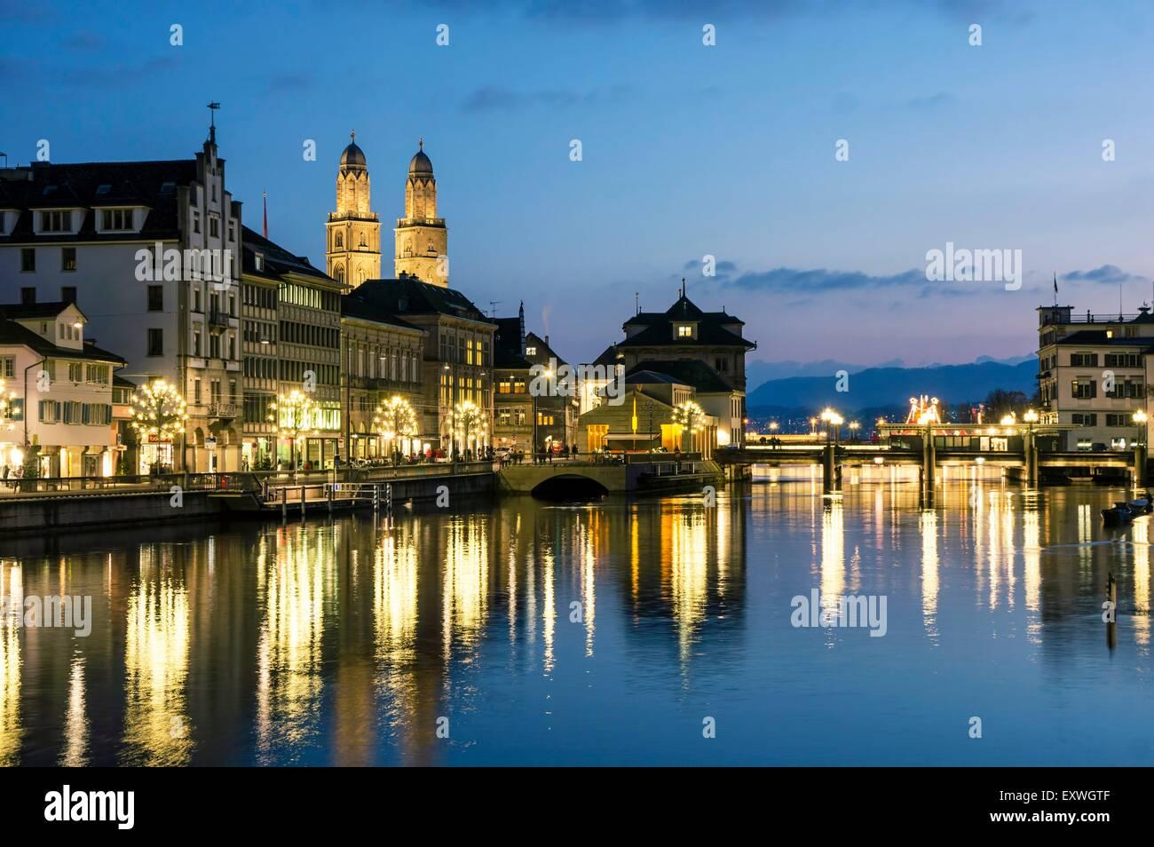 Grossmuenster and Limmat, Zurich, Switzerland, Europe - Stock Image
