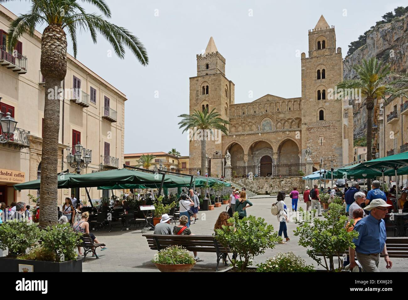 San Salvatore cathedral, Cefalu, Sicily, Italy, Europe - Stock Image