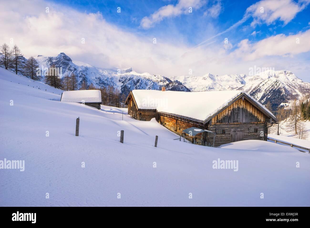 Alp hut in snow, Hafeichtalm, Radstaedter Tauern, Pongau, Salzburger Land, Austria, Europe Stock Photo