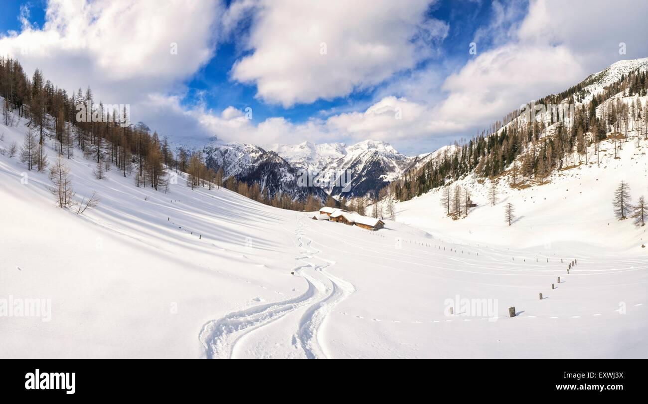 Alp hut in snow, Hafeichtalm, Radstaedter Tauern, Pongau, Salzburger Land, Austria, Europe - Stock Image