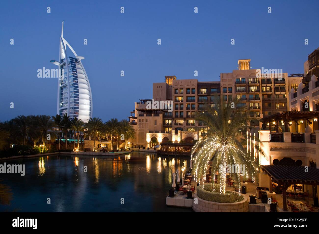 Burj al Arab and Medinat Jumeirah Hotel, Dubai - Stock Image
