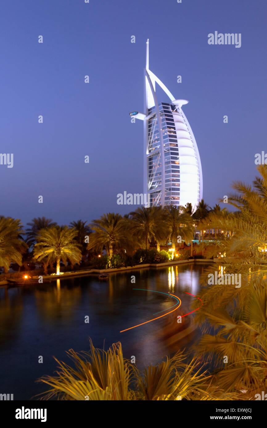Burj al Arab and Medinat Jumeirah Hotel, Dubai - Stock Image