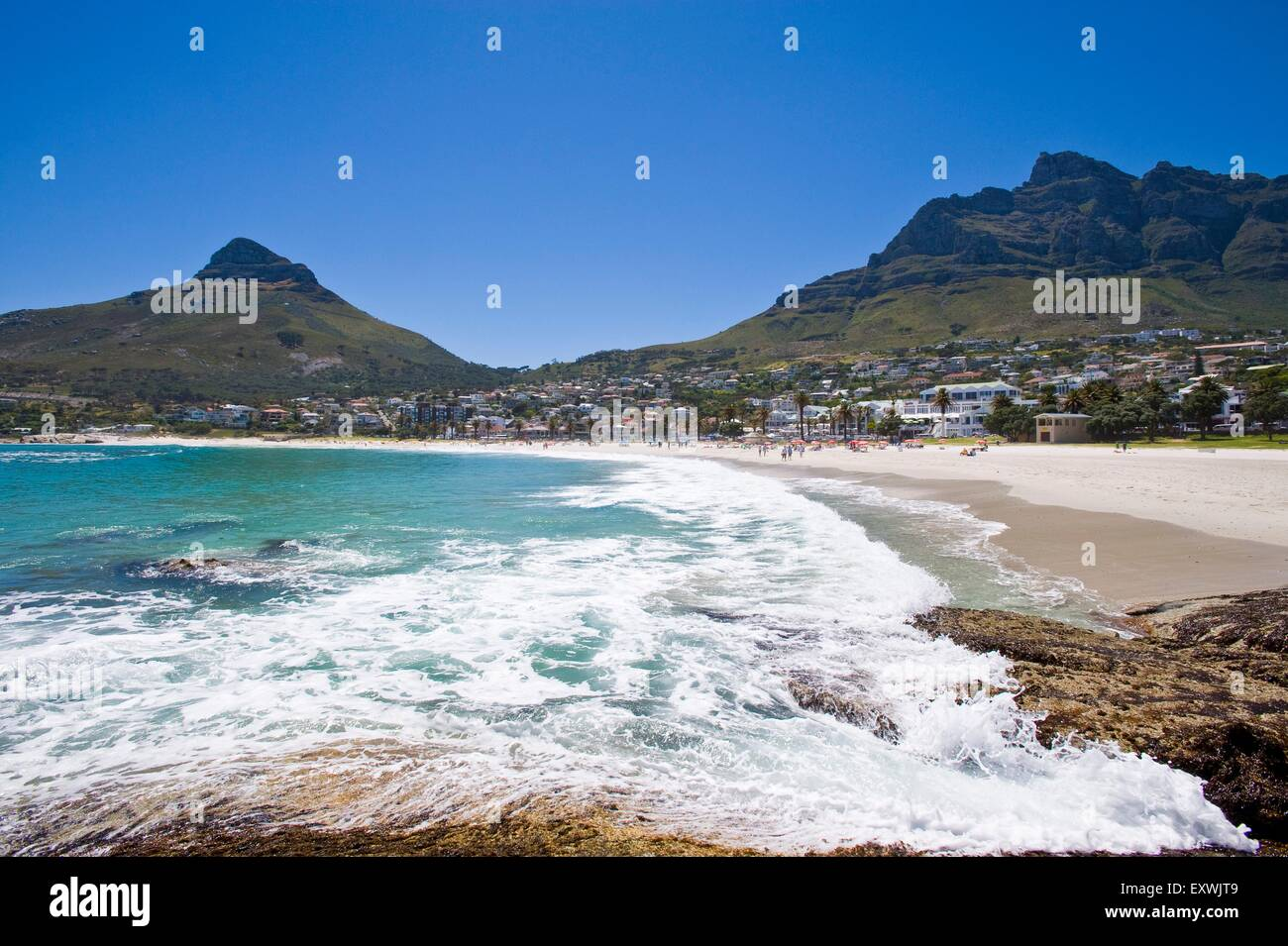 Beach at Camps Bay, Cape Town, South Africa Stock Photo