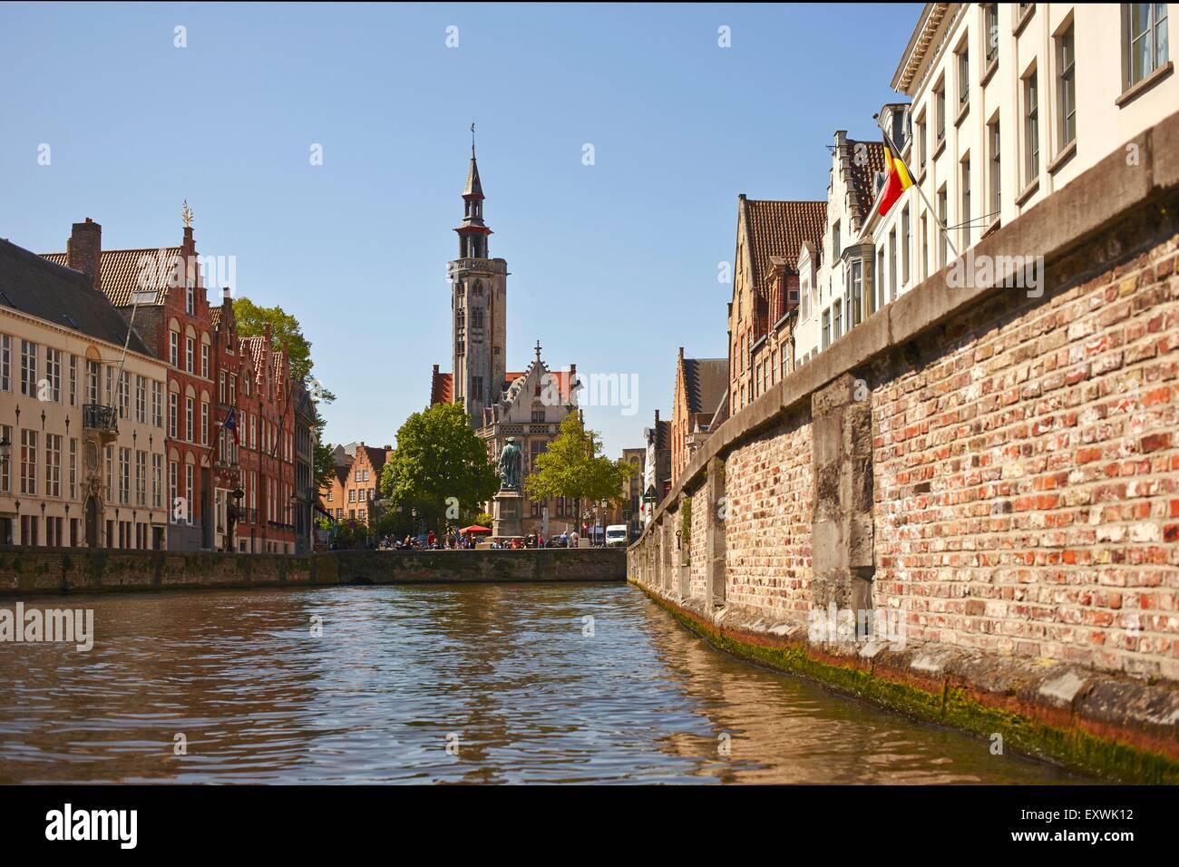 Jan van Eyck Statue and channel in Bruges, Belgium Stock Photo