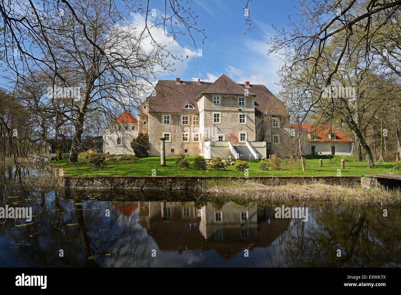 Moated castle Mellenthin, Usedom, Mecklenburg-Western Pomerania, Germany, Europe - Stock Image